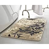 Laura Ashley Cora High Definition Printed Memory Foam 27' x 45' Accent Rug, Taupe, 27 in. x 45