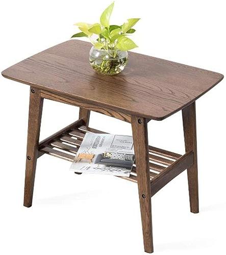LXZ Homegift Table en Bois De Couleur Noyer, Table De Chevet Table De Salon Créative Double-Couche De Quatre Pieds Table Basse Salon Creux Chambre, 59.5cm  40cm  48cm