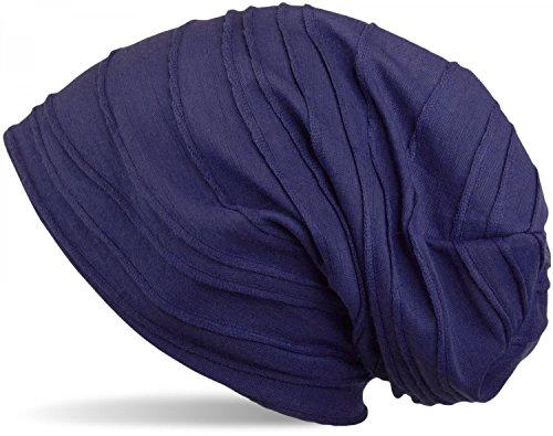 styleBREAKER styleBREAKER klassische Beanie Mütze mit Falten Muster, Longbeanie, Unisex 04024053, Farbe:Lila (One Size)