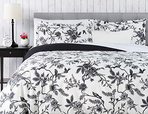 Chanasya Ultra Soft Toile Print 3-Piece Bedding Duvet Cover Set King - Luxurious Brushed Microfiber Comforter Cover - Zipper Closure Reversible Print (1 Duvet Cover & 2 Pillowcases) White Charcoal