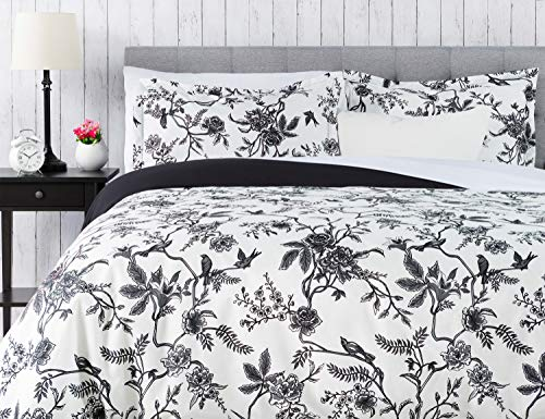 Chanasya Ultra Soft Toile Print 3-Piece Bedding Duvet Cover Set King - Luxurious Brushed Microfiber Comforter Cover - Zipper Closure Reversible Print (1 Duvet Cover & 2 Pillowcases) White Charcoal