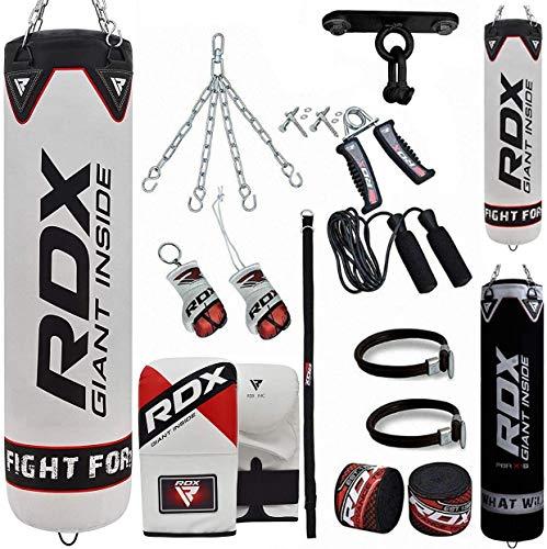 RDX Boxsack Gefüllt Set Kick Boxing MMA Schwere Trainingshandschuhe Stanzen Handschuhe Hängen Kette Deckenhaken Muay Thai 13 STÜCK Kampfkunst 4FT 5FT (MEHRWEG)
