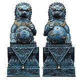 Feng Shui - Par leones grandes Beijing, estatuas perros Fu Foo (un par), latón puro, decoración china, accesorios para la prosperidad, estatuilla, hogar y oficina, riqueza, escultura buena suerte