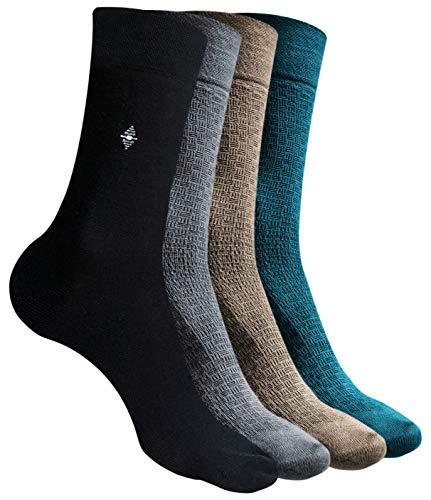 Calcetines hombres ejecutivos - De bambu – Pack de 12 pares – Talla 41 46 – Negro, marrón, azul y gris -