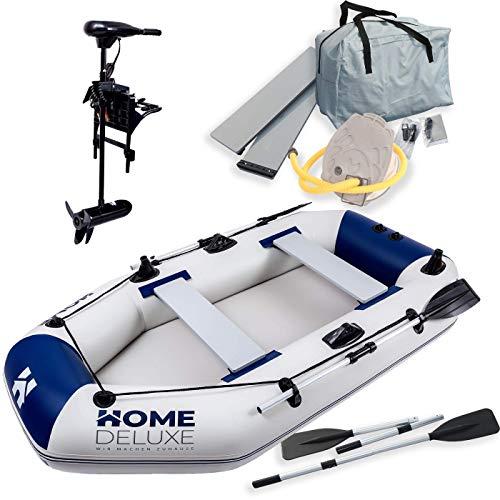 Home Deluxe - Schlauchboot Small inkl. Motor - Material: strapazierfähiges PVC- Maße: LxB ca. 230 x 128 cm - für bis zu 3 Personen | Beiboot, Motorboot, Ruderboot