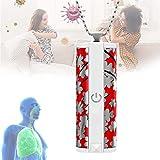 Purificador De Aire De Iones Negativos De Cuello Colgante Mini-Portátil Ionizadores Personal con Silencioso para Ofrecer Un Aire Más Fresco,Rojo