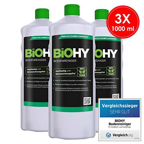 BiOHY Bodenreiniger (3x1l Flasche) | Konzentrat für alle Reinigungsgeräte und alle Hartböden | Angenehmer Geruch und streifenfreie Reinigung