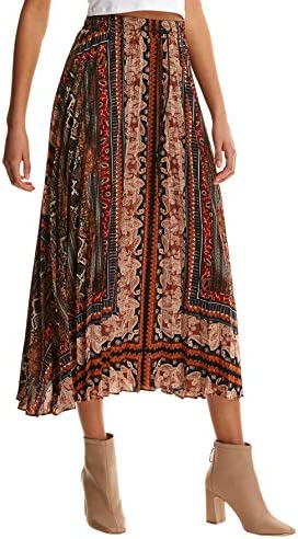Floerns Women s Boho Elastic Waist Scarf Print Pleated Midi Skirt Multi Scarf L product image