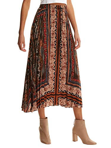 Floerns Women's Boho Elastic Waist Scarf Print Pleated Midi Skirt Multi Scarf L