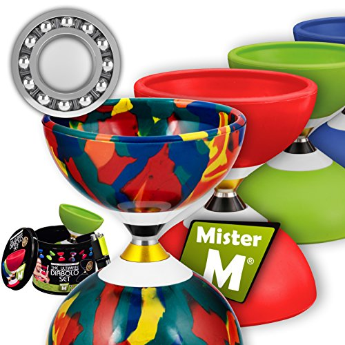 Ball Bearing Diabolo with 3 Ball Bearings + Sticks + Extra String + Free Online Video - Super Spin. Designed by MisterM The Ultimate Diabolo Set (Camouflage)