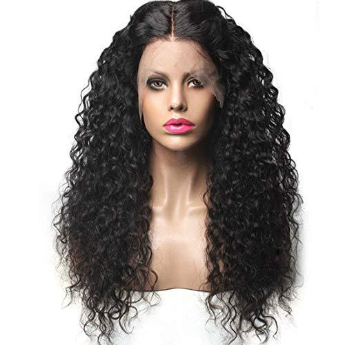 Yhtech Negro largo rizado ondulado peluca de las mujeres suelta ondulada peluca sintética negro Medio Partida del pelo cabeza resistente al calor natural negro peluca completa con el casquillo libre d