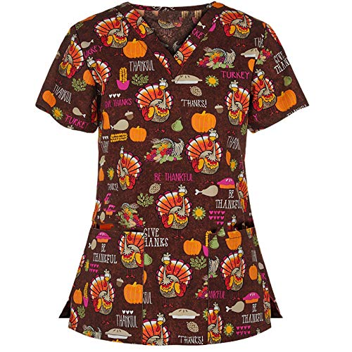 Women's Thanksgiving Fall Printing Tops Short Sleeve V Neck Working Uniform Holiday Blouse (M, Coffee)