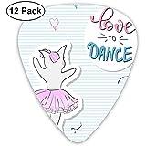 Guitar Pick Classic Picks 12er Pack für Gitarre und Bass Cute Romantic Ballerina Cat
