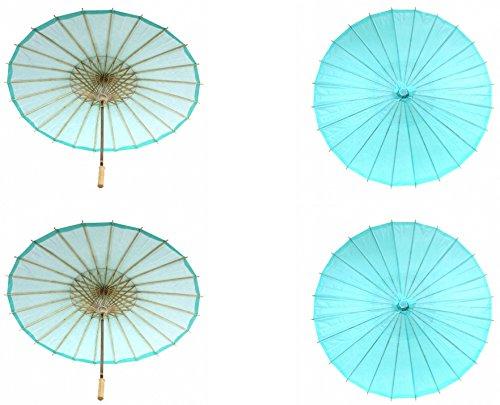 Koyal Wholesale 32-Inch Paper Parasol, 4-Pack Umbrella for Wedding, Bridesmaids, Party Favors, Summer Sun Shade (4, Diamond Blue)