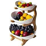 Cratone Obst Etagere 3 Etagen Porzellan 3 Stöckig Obstschale mit Bambus ständer, Snack Bonbon...