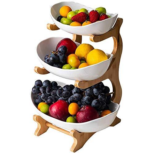 Cratone Obst Etagere 3 Etagen Porzellan 3 Stöckig Obstschale mit Bambus ständer, Snack Bonbon Platte Obstteller Wohnzimmer Deko