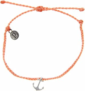 Silver Anchor Bracelet - Iron Plated Charm, Adjustable Band - 100% Waterproof