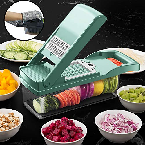 Vegetable Chopper Dicer,Manual Onion Mincer Chopper Cutter Multifunctional Salad Food Chopper with Container and Hand Guard,Kitchen Mandoline Slicer for Potato Tomato Cheese Fruit-Green 32x11x11cm(12x