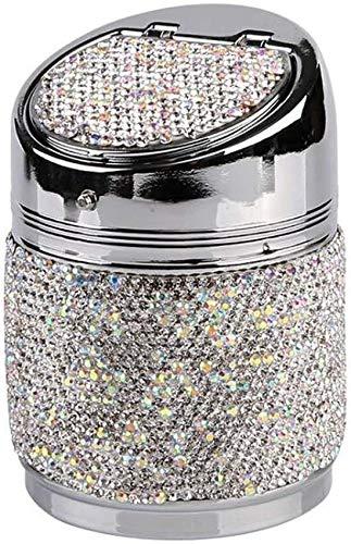 Cenicero XMJ Fumar Bandeja Bin Ashtray Oro portátil Cristal Ligero Diamante LED de Ceniza de Ceniza Ceniza 10x6.5cm (Color : White)
