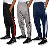 Real Essentials 3 Pack Boys Tricot Sweatpants Joggers Track Pants Athletic Workout Gym Apparel Training Fleece Tapered Slim Fit Tiro Soccer Casual,Set 2,XL (18/20)