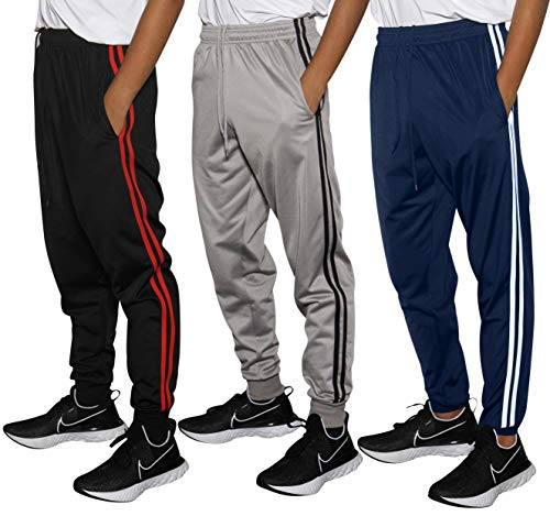 Real Essentials 3 Pack Boys Tricot Sweatpants Joggers Track Pants Athletic Workout Gym Apparel Training Fleece Tapered Slim Fit Tiro Soccer Casual,Set 2,M (10/12)
