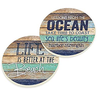 Life Is Better At The Beach Coastal Ocean Vintage Look Ceramic Car Coaster Pack (Set of 2)