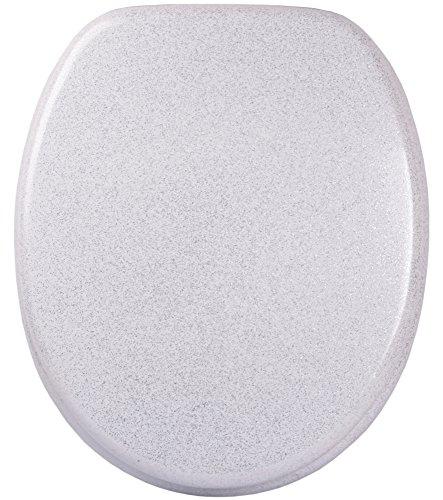 Glitzer WC Sitz mit Absenkautomatik, viele schöne Glitzer WC Sitze zur Auswahl, hochwertige und stabile Qualität aus Holz (Glitzer Weiß)