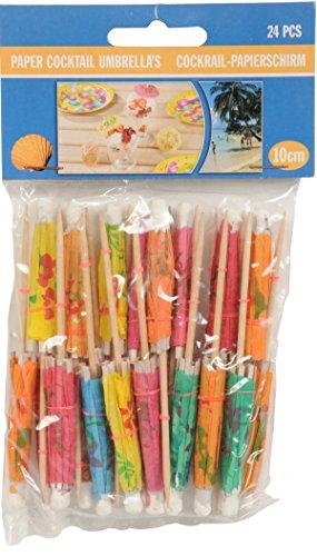 24 Cocktail Papier Schirmchen 10 cm, Cocktailschirmchen, Papierschirmchen Dekoschirmchen Cocktail Deko Party Papier Schirm Schirmchen, 2101