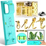 Picture Hanging Tool Kit, 105 Pieces Heavy Duty Picture Hanger Photo Frame Hanger Tool with Level Ruler Bubble Position Nail Measuring Tool for Marking Position for Hanging Photo Frames Mirrors