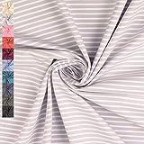 Jersey Elias, gestreift 5mm und 2,5mm, grau/weiß (50cm x