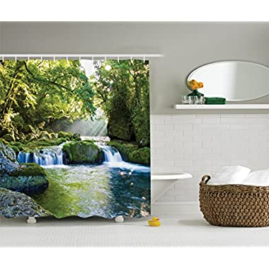 Ambesonne Rainforest Waterfall Decor Shower Curtain by, Foliage Jungle Misty Mountains and Mossy Rocks View Print, Polyester Fabric Bathroom Decor Set with Hooks, Green