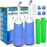 2PCS Portable Bidet Shower with 2 Nozzle+Extended Pipe - 500ml 17oz Travel Bidet Bottle for Travel-Personal Cleansing Toilet Bidet Sprayer-Peri Bottle for Postpartum Perineal Care-hemorrhoid Treatment
