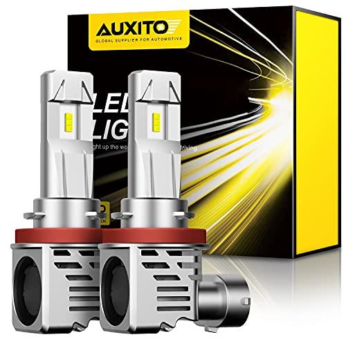AUXITO H11 LED Headlight Bulbs 12000lm Per Set 6500K Cool White Wireless H8 H9 Headlight LED Bulb, Pack of 2