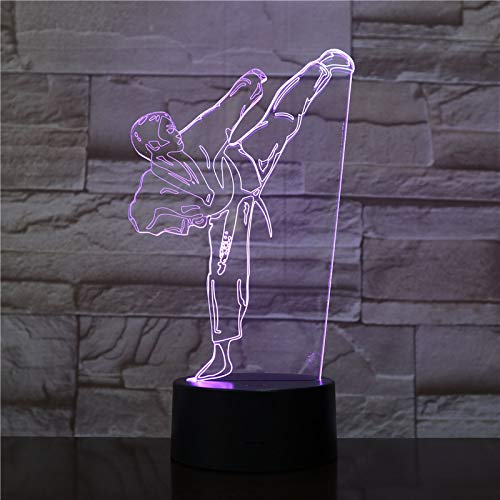 3D Karate judo LED Night Light 3 Pattern and 7 Color with Remote Control Best Gift for Kids Girls Boys