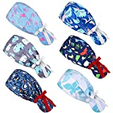 6 Pieces Adjustable Bouffant Hats Sweatband Bouffant Turban with Buttons and Ribbon Colorful Print Head Tie Covers Adjustable Ribbon Tie Ponytail Bouffant Caps for Women (Charming Style)