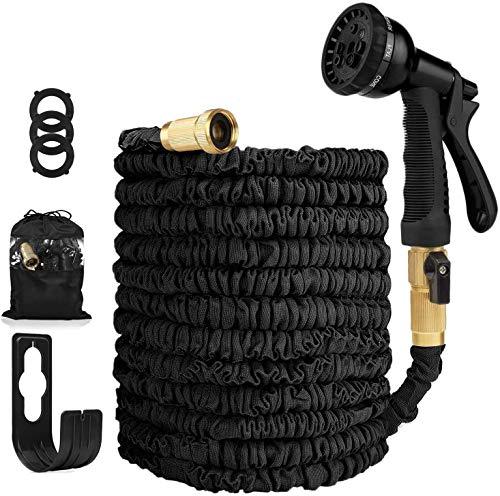 Garden Hose Expandable Hose - Heavy Duty Flexible Leakproof Hose - 8-Pattern High-Pressure Water Spray Nozzle & Bag & Plastic Holder.No Kink Tangle-Free Pocket Water Hose -Black (150FT)