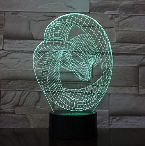 Artistieke abstractie in 7 kleuren, moderne led-tafellamp met nachtlampje, USB 3D, voor de decoratie van huis of bed, romantische cadeaus voor kinderen en vrienden.