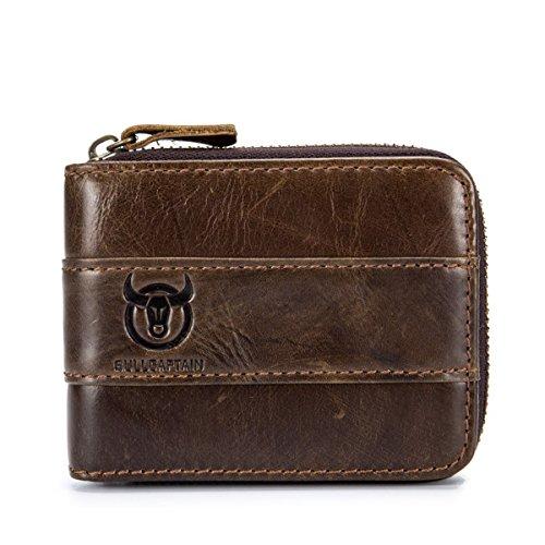 Herren Ledergeldbörse Leder Geldtasche, BULLCAPTAIN Herren RFID Antimagnetic Echtes Leder Brieftasche Geldbörse Brieftasche Kreditkarteninhaber (Braun)