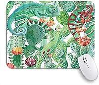KAPANOU マウスパッド、動物のカメレオンとサボテンの花エキゾチック おしゃれ 耐久性が良い 滑り止めゴム底 ゲーミングなど適用 マウス 用ノートブックコンピュータマウスマット