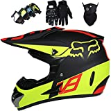 KIVEM Casco Moto Niño 5-16 Años, Juego de 4 Piezas de Cascos Motocross Integral Hombre Mujer para Enduro Quad Bike Bici Motos Electricas Mini Moto BMX ATV - con Diseño Fox - Negro Mate Amarillo,S