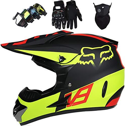 KIVEM Casco Moto Niño 5-16 Años, Juego de 4 Piezas de Cascos Motocross Integral Hombre Mujer para Enduro Quad Bike Bici Motos Electricas Mini Moto BMX ATV - con Diseño Fox - Negro Mate Amarillo,XL