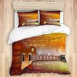 Juego de funda nórdica de 3 piezas, fondo de música grunge marrón abstracto con guitarra eléctrica clásica, juegos de fundas de edredón de microfibra de lujo para dormitorio, colcha con cremallera con