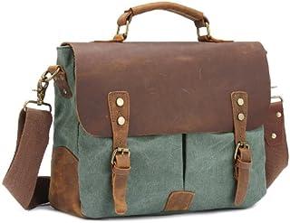 KTYXGKL Full Grain Weekend Retro Crazy Horse Leather Briefcase Men's Handbag Messenger Bag Shoulder Bag Briefcase (Color : Green)