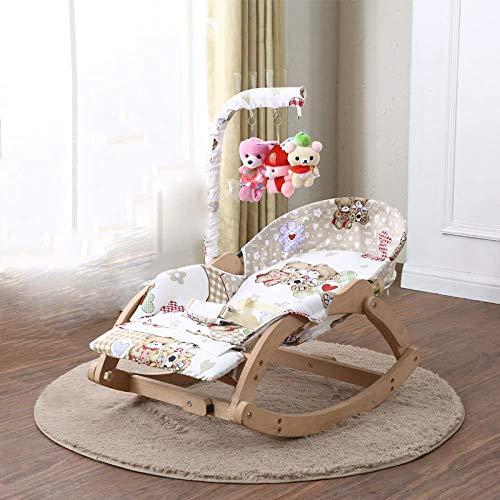Tröstlich Stuhl Stuhl Baby Massivholz Baby Kind Stuhl mit Baby zu Koax-Baby in dem Schlaf kleine Wiege Bett Schaukel,Beige