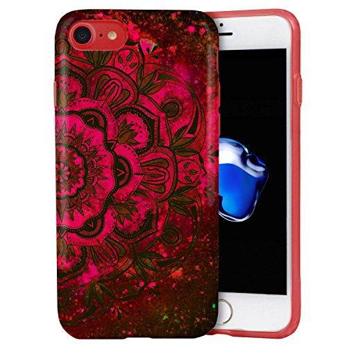 Funda iPhone 8 / iPhone 7, ZUSLAB Bonita Mandala Flor Efecto Dibujo Silicona Suave Antigolpes Tapa Trasera Case Cover Cascara Protectora [Mandala Sangriento Rojo]