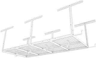 "FLEXIMOUNTS 4x8 Overhead Garage Storage Rack w/Hooks Adjustable Ceiling Storage Racks, 96"" Length x 48"" Width x 40"" Height, 22``-40"" Ceiling Dropdown, White"