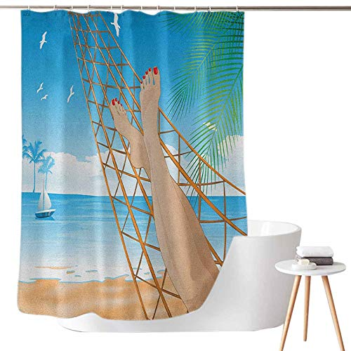 Shower Curtains Cloth for Bathroom Legs of The Sexy Lady Laying in The Hammock Toward The Ocean in Hawaiian Tropical W36 x L72 Bathroom Decor with Hooks