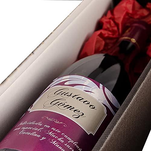 Botella de vino personalizada con nombre, apellido y dedicatoria