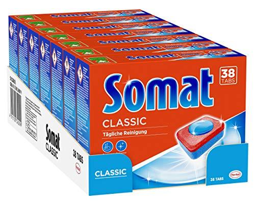 Somat Pastillas clásicas para lavavajillas, 266 pastillas (7 x 38) para la limpieza diaria de cubiertos y vajilla.