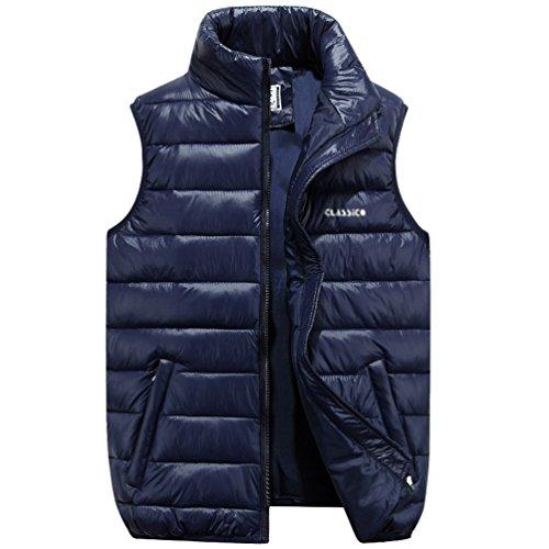 NiSeng Hombre Chaqueta de Pluma Sin Mangas Chalecos Planicie Ligero Cálido Abrigo de Invierno Azul oscuro 5XL